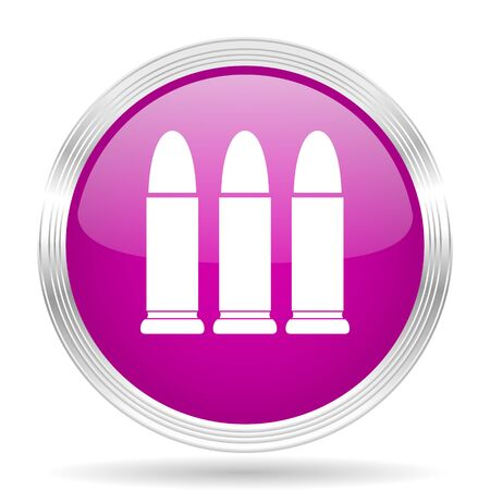 ammunition: ammunition pink modern web design glossy circle icon Stock Photo