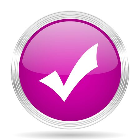 accept icon: accept pink modern web design glossy circle icon