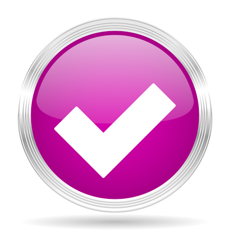 to accept: accept pink modern web design glossy circle icon
