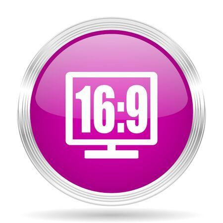 16 9 display: 16 9 display pink modern web design glossy circle icon Stock Photo