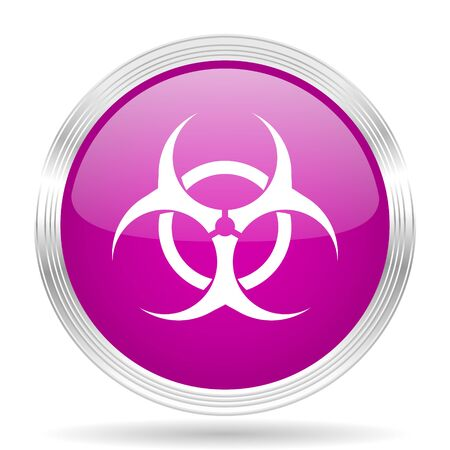 bacterioa: biohazard pink modern web design glossy circle icon Stock Photo