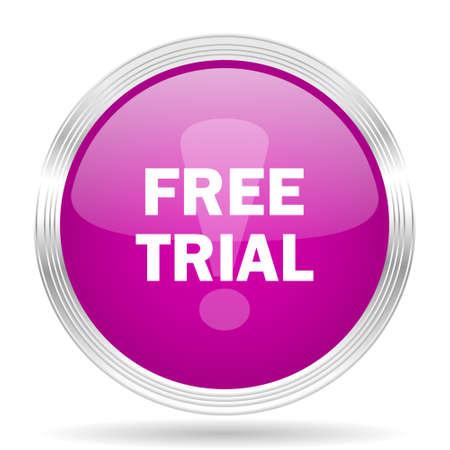 free trial: free trial pink modern web design glossy circle icon