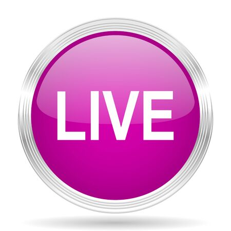 live stream movie: live pink modern web design glossy circle icon