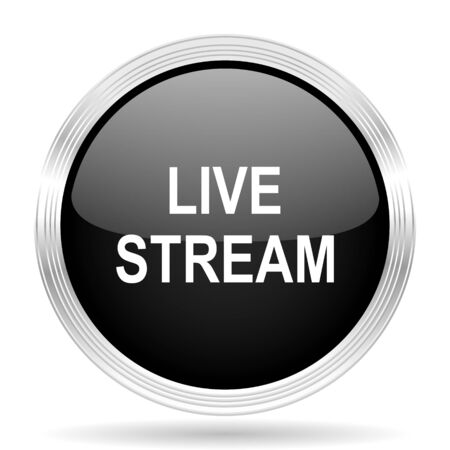 live stream: live stream black metallic modern web design glossy circle icon