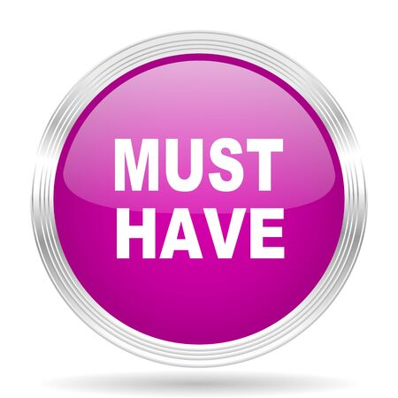 have: must have pink modern web design glossy circle icon Stock Photo