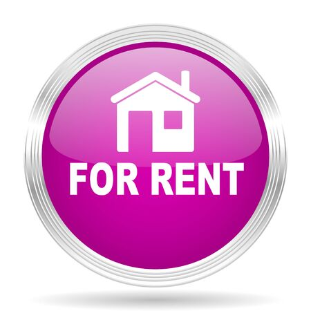 violet residential: for rent pink modern web design glossy circle icon Stock Photo