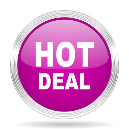hot deal: hot deal pink modern web design glossy circle icon