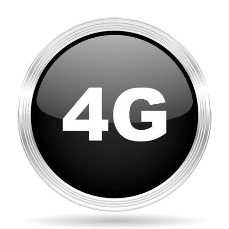 4g: 4g black metallic modern web design glossy circle icon Stock Photo