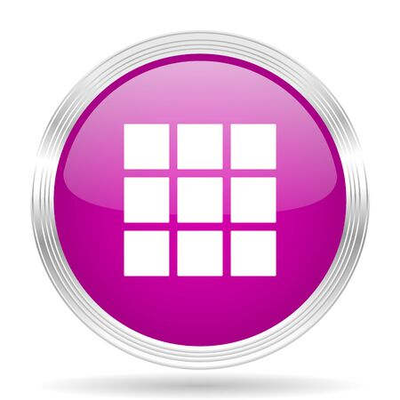 thumbnails: thumbnails grid pink modern web design glossy circle icon Stock Photo