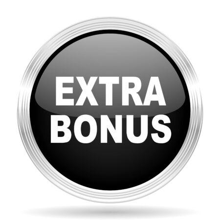 discounting: extra bonus black metallic modern web design glossy circle icon Stock Photo