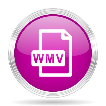 wmv: wmv file pink modern web design glossy circle icon