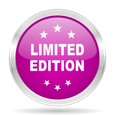 limited edition: limited edition pink modern web design glossy circle icon Stock Photo