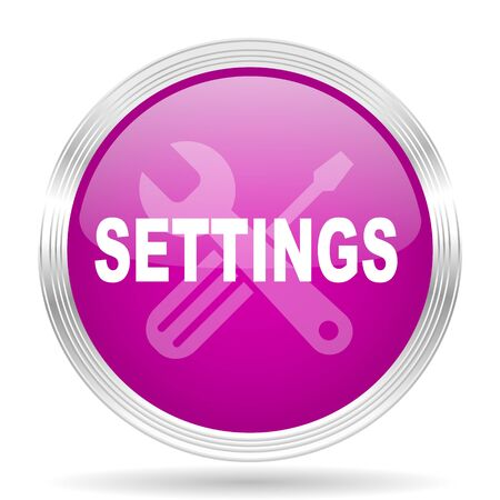 parameters: settings pink modern web design glossy circle icon Stock Photo