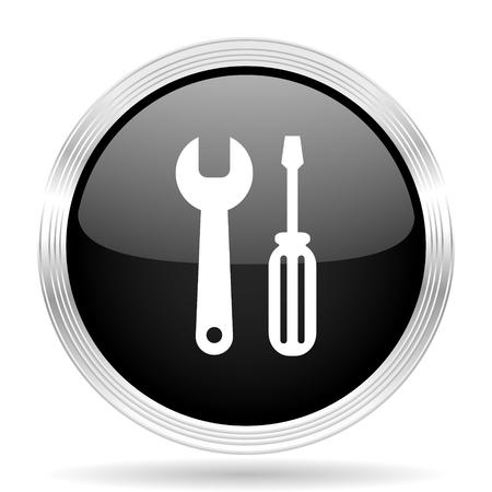 option key: tool black metallic modern web design glossy circle icon