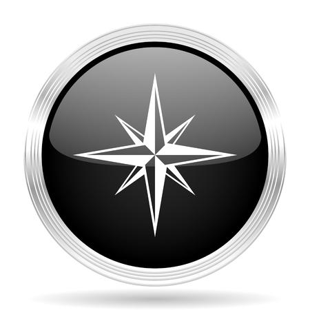 internet explorer: compass black metallic modern web design glossy circle icon