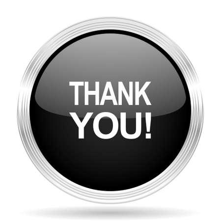 te negro: thank you black metallic modern web design glossy circle icon