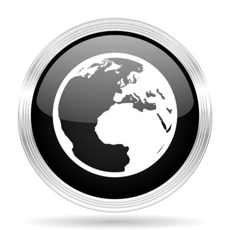 parallels: earth black metallic modern web design glossy circle icon