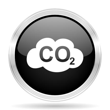 dioxido de carbono: el dióxido de carbono negro metálico de diseño web moderno círculo brillante del icono