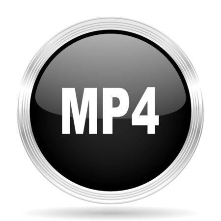 mp4: mp4 black metallic modern web design glossy circle icon Stock Photo