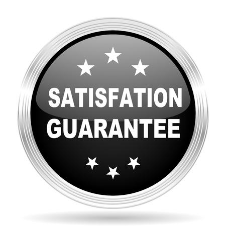 satisfaction guarantee: satisfaction guarantee black metallic modern web design glossy circle icon
