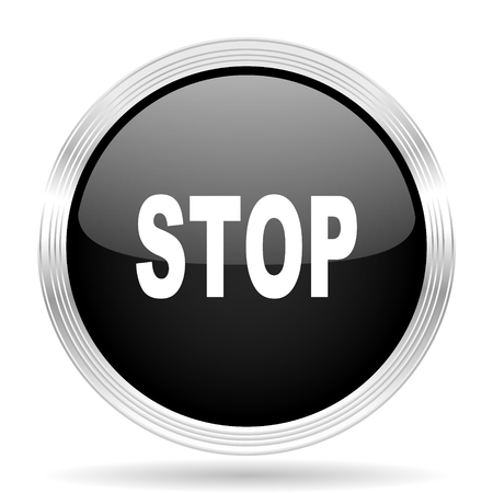 proscribed: stop black metallic modern web design glossy circle icon