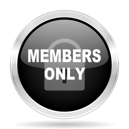 members only: members only black metallic modern web design glossy circle icon