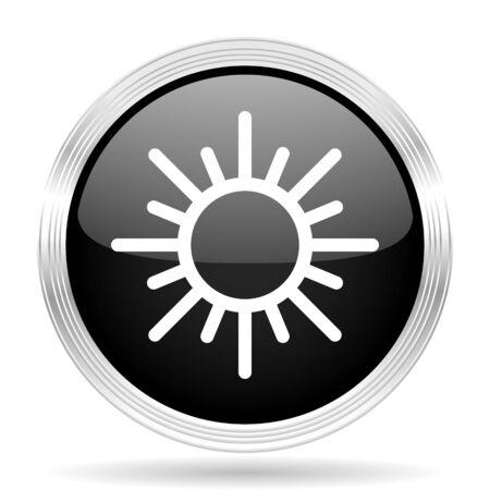 metallic  sun: sun black metallic modern web design glossy circle icon