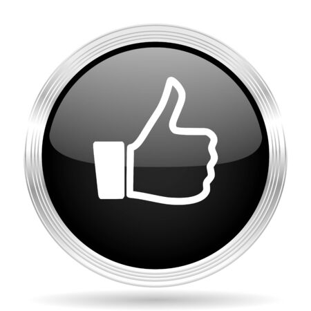 approval button: like black metallic modern web design glossy circle icon