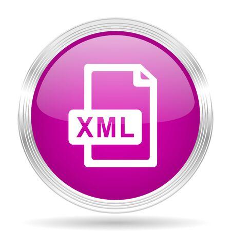 xml: xml file pink modern web design glossy circle icon