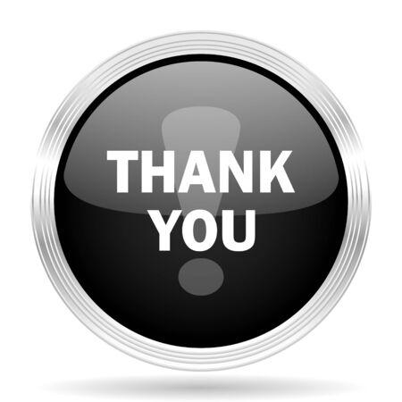 you black: gracias metálico negro de diseño web moderno círculo brillante del icono Foto de archivo