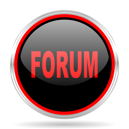 red metallic: forum black and red metallic modern web design glossy circle icon