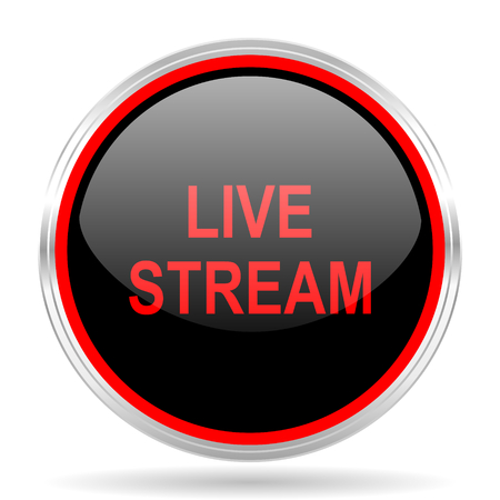 live stream: live stream black and red metallic modern web design glossy circle icon