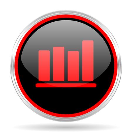 red metallic: bar chart black and red metallic modern web design glossy circle icon Stock Photo