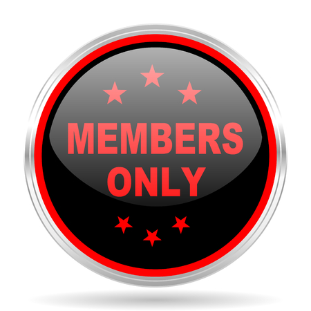 members only: members only black and red metallic modern web design glossy circle icon
