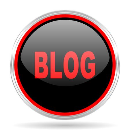 red metallic: blog black and red metallic modern web design glossy circle icon