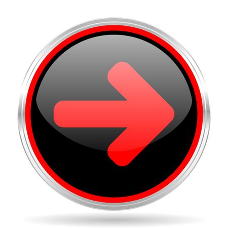navigation panel: right arrow black and red metallic modern web design glossy circle icon