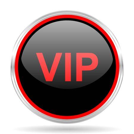 red metallic: vip black and red metallic modern web design glossy circle icon