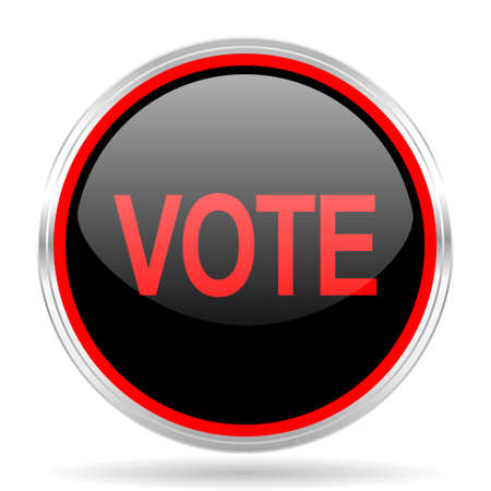 red metallic: vote black and red metallic modern web design glossy circle icon