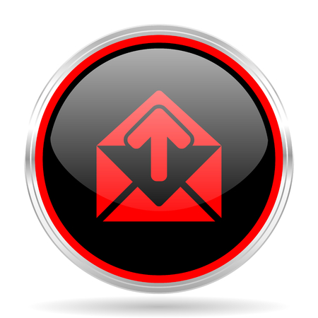 red metallic: email black and red metallic modern web design glossy circle icon