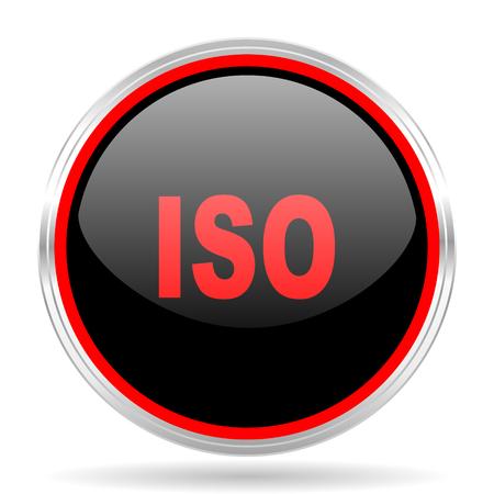 red metallic: iso black and red metallic modern web design glossy circle icon