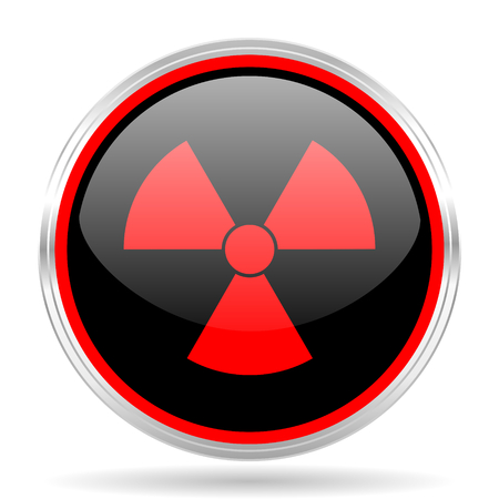 gamma radiation: radiation black and red metallic modern web design glossy circle icon Stock Photo