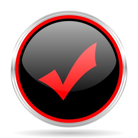 yea: accept black and red metallic modern web design glossy circle icon