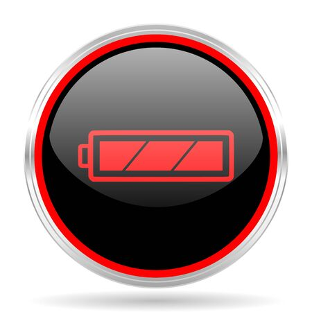 red metallic: battery black and red metallic modern web design glossy circle icon Stock Photo