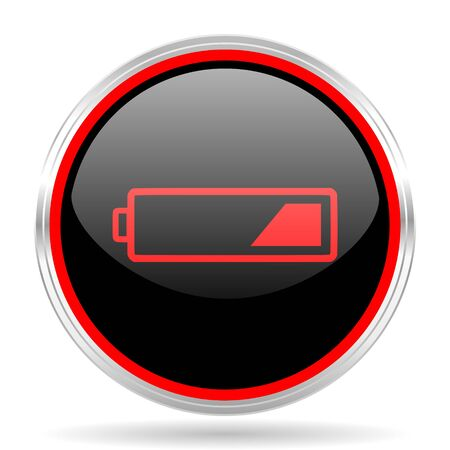 accuse: battery black and red metallic modern web design glossy circle icon Stock Photo