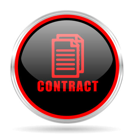 icom: contract black and red metallic modern web design glossy circle icon Stock Photo