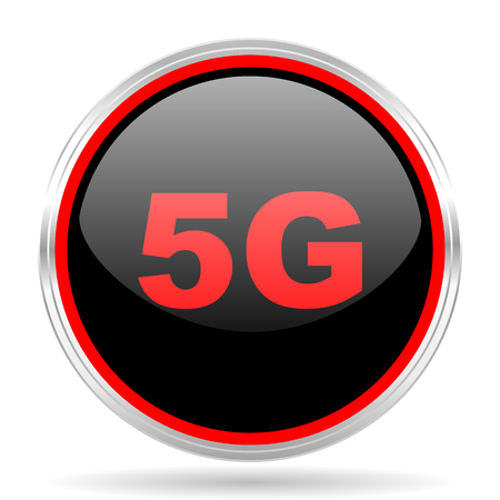 red metallic: 5g black and red metallic modern web design glossy circle icon