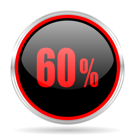 red metallic: 60 percent black and red metallic modern web design glossy circle icon Stock Photo