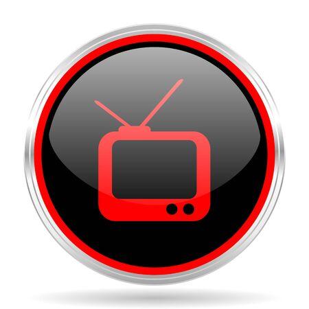 red metallic: tv black and red metallic modern web design glossy circle icon