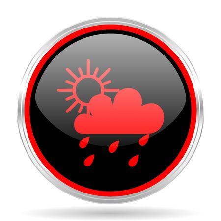 red metallic: rain black and red metallic modern web design glossy circle icon