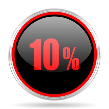 red metallic: 10 percent black and red metallic modern web design glossy circle icon